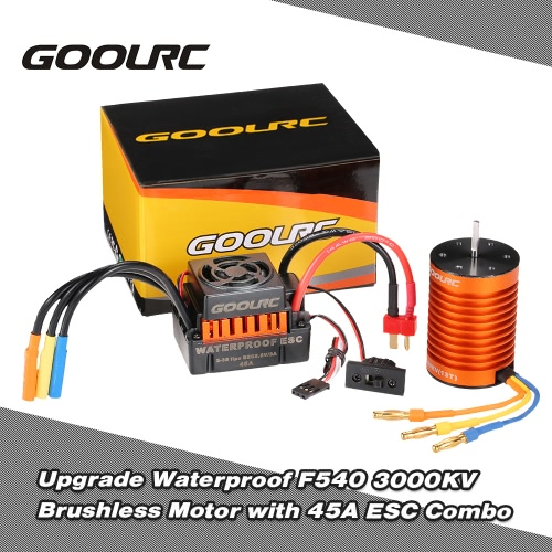 GoolRC Upgrade Waterproof F540 3000KV Brushless Motor with 45A ESC Combo Set for 1/10 RC Car Truck