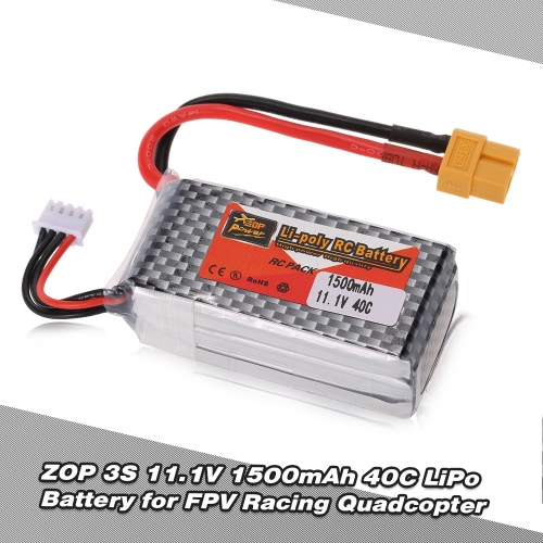 ZOP Power 3S 11.1V 1500mAh 40C XT60 Plug LiPo Battery for QAV250 H210 LS180 FPV Racing Quadcopter RC Car Boat