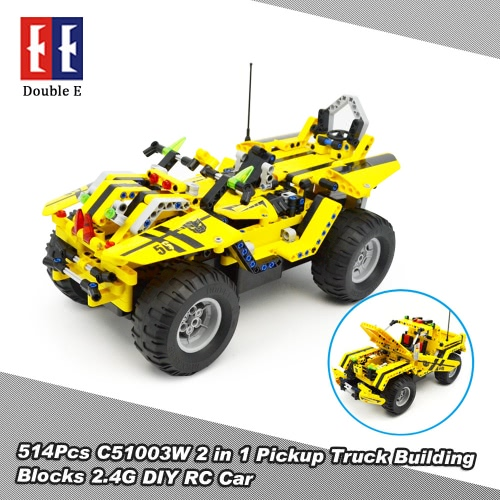 514Pcs Double E C51003W 2 in 1 RC Pickup Truck Building Blocks Kits 2.4G Car Model DIY Toys от Tomtop.com INT