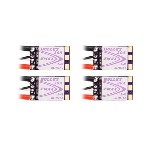 4Pcs EMAX 30A Brushless ESC Bullet Series BLHeli-S Dshot 2-4S Electric Speed Controller for QAV250 280 FPV Racer Quadcopter
