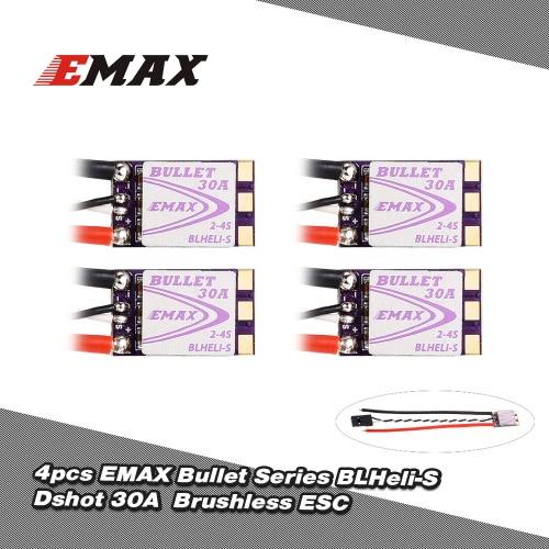 4Pcs EMAX 30A Brushless ESC Bullet Series BLHeli-S Dshot 2-4S Electric Speed Controller for QAV250 280 FPV Racer Quadcopter