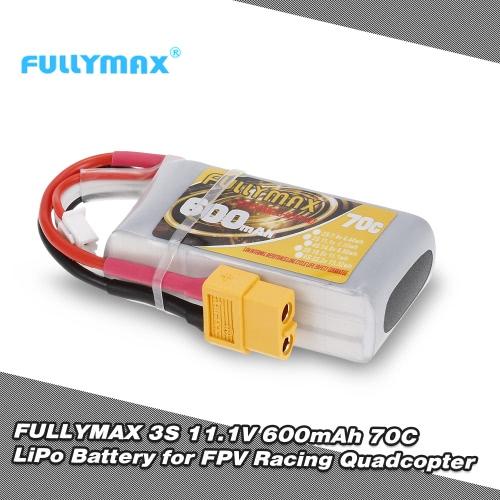 FULLYMAX 3S 11.1V 600mAh 70C High Rate XT60 Plug LiPo Battery for 130 FPV Racing Quadcopter RC Car Boat
