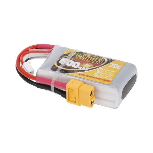 FULLYMAX 3S 11.1V 600mAh 70C High Rate XT60 Plug LiPo Battery for 130 FPV Racing Quadcopter RC Car Boat