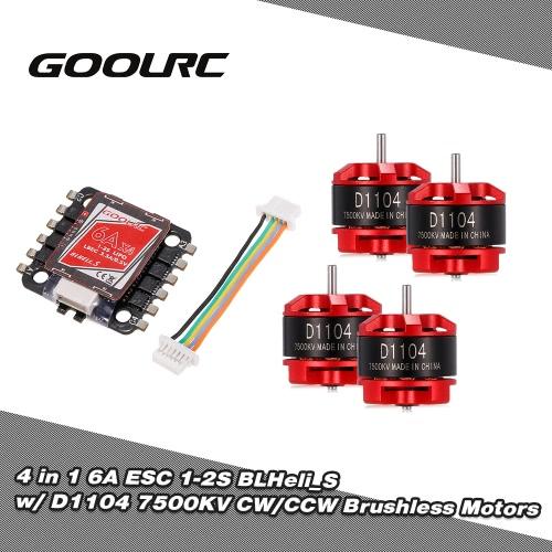 GoolRC 4 in 1 6A ESC BLHeli_S BEC Oneshot125 Multishot and D1104 7500KV Brushless Motor Kit for Racing Quadcopter