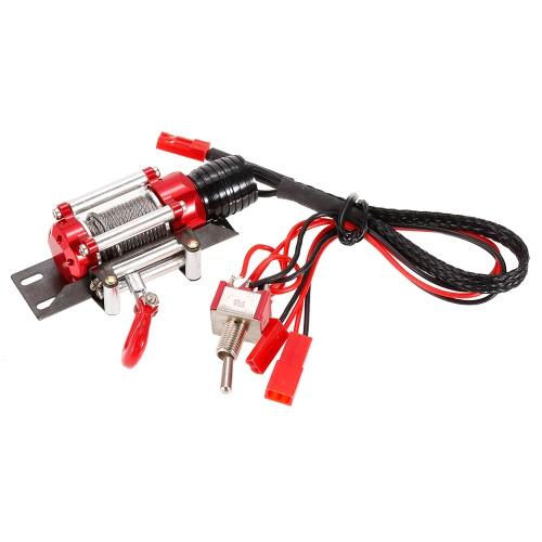 メタルスチールワイヤード自動シミュレーテッドウインチリモートコントローラー1/10用CC01アキシャルSCX10 RC4WD D90 RCロッククローラー