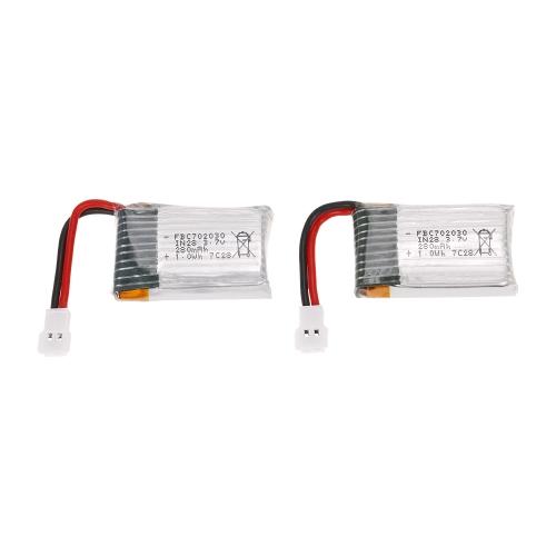 2 pcs 3.7 V 280 mAh Li-po Batterie pour TECHBOY TB-802 RC Motion Contrôle Drone GoolRC T100 FQ17W Quadcopter