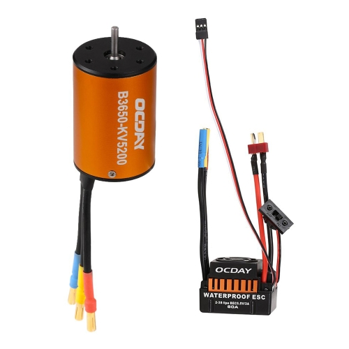 OCDAY B3650 5200KV 4P Sensorless Brushless Motor e impermeabile 60A Sensorless auto Brush ESC 1/10 RC Auto