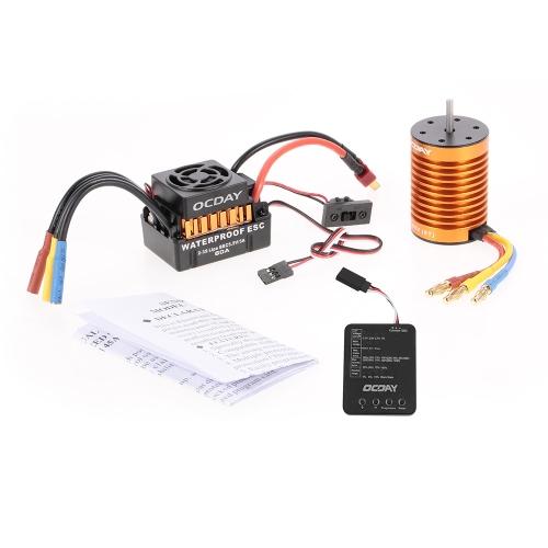 OCDAY Wodoodporny 60A Bezszczotkowy samochód Elektroniczny układ kontroli prędkości ESC + 9T 4370KV 4P Bezczujnikowy silnik bezszczotkowy + tablica programowania