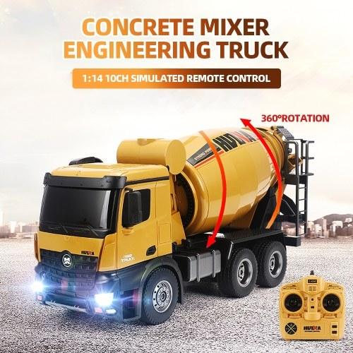 Giocattoli leggeri del veicolo della costruzione del camion di ingegneria della betoniera di HUINA 1574 1:14 2,4G per i bambini
