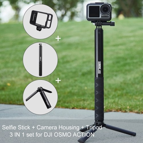 STARTRC Selfie Stick retrattile 110cm ABS Custodia fotocamera anti-crash e kit treppiede pieghevole per DJI OSMO Action Camera