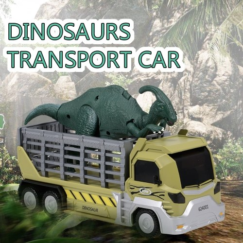 Dinosauri Trasporto Car Carrier Truck Toy Parasaurolophus Tirare indietro Dinosaur Cars Gift for Kids