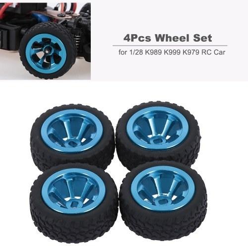 Pour WLtoys K979 K989 K999 4Pcs pneus moyeu de roue en métal 1/28 RC remplacement de voiture