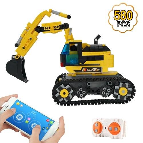 580pcs Building Block Excavator 2.4GHz RC Car Shop Truck APP Control Programming STEM Learning Kit Path Mode Voice Control Educational Toy