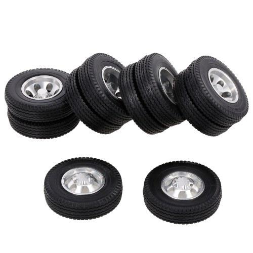 6PCS Aluminum Alloy Front & Rear Truck Wheel Rim Tires Compatible with Tamiya 1/14 RC Tractor Truck( type-7) Image