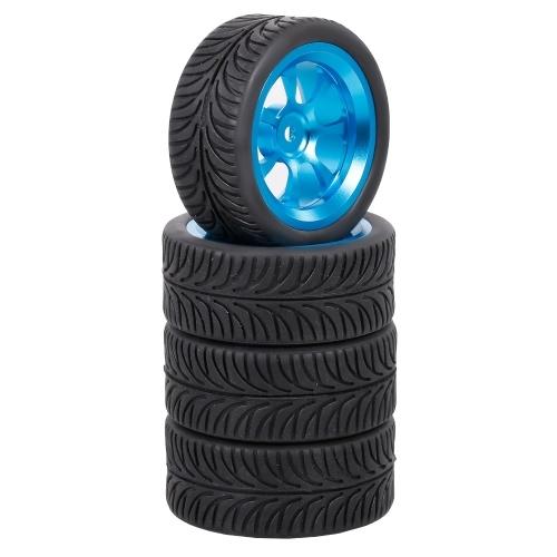 4 pièces 65mm pneu en caoutchouc jantes de roue en métal pneus en caoutchouc à haute adhérence pour 1/12 1/14 1/18 voiture RC Wltoys 144001 A959 124019 124018