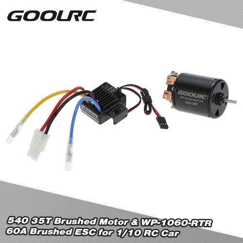 GoolRC 540 35 t 4 極ブラシをかけられたモーターおよび WP-1060年-RTR 60A 防水 1/10 RC カー用の 5 v/2 a BEC esc キー電子スピード コント ローラーのブラシ