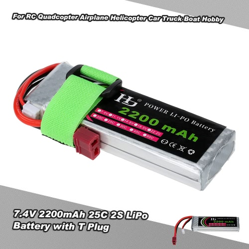 7.4V 2200mAh 25C 2S LiPo Battery with T Plug for RC Quadcopter Airplane Helicopter Car Truck Boat Hobby