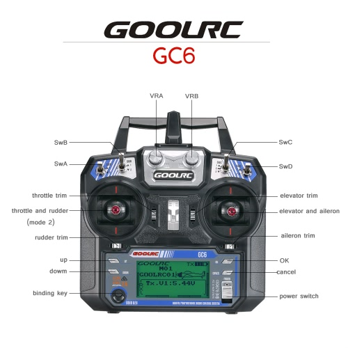 Original GoolRC GC6 2 4G 6CH AFHDS2A Transmitter Mode 2 and GC-6 6CH  Receiver for RC Helicopter Multicopter Fixed-wing