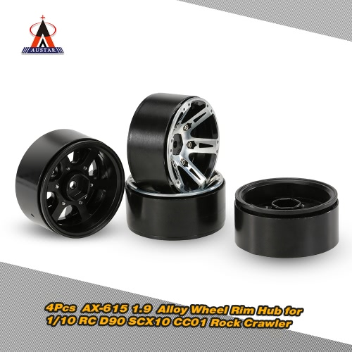 4Pcs AUSTAR 1.9 Alloy Wheel Rim Hub RC Car Accessories for 1/10 RC D90 SCX10 CC01 Rock Crawler