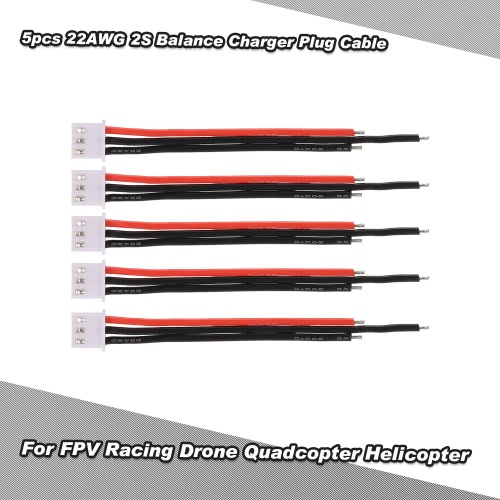 Filo silicone Cable 5pcs 22AWG 7.4V 2S Lipo Balance Batteria caricatore della spina per FPV corsa Drone Quadcopter elicottero