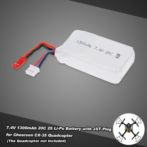 7.4V 1300mAh 20C 2S Li-Po Battery with JST Plug for Cheerson CX-35 Quadcopter