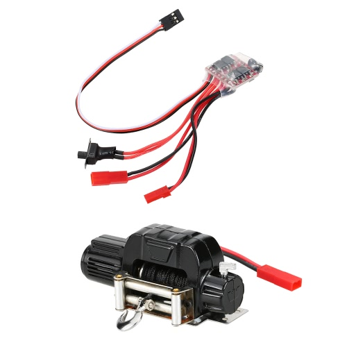 1/10 Electric Automatic Crawler Winch and 30A Brushed ESC Switch Controller for RC 1/10 JEEP Axial SCX10 AX10 Tamiya CC01 HSP Traxxas RC4WD Rock Crawler