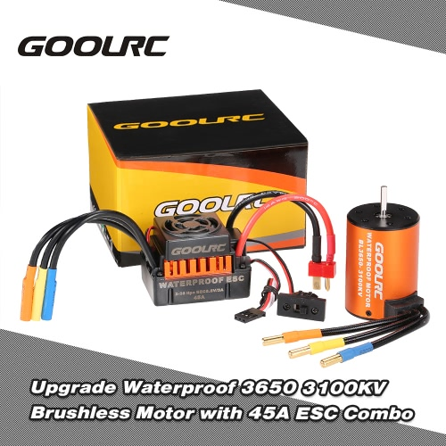 GoolRC Upgrade Waterproof 3650 3100KV Brushless Motor with 45A ESC Combo Set for 1/10 RC Car Truck