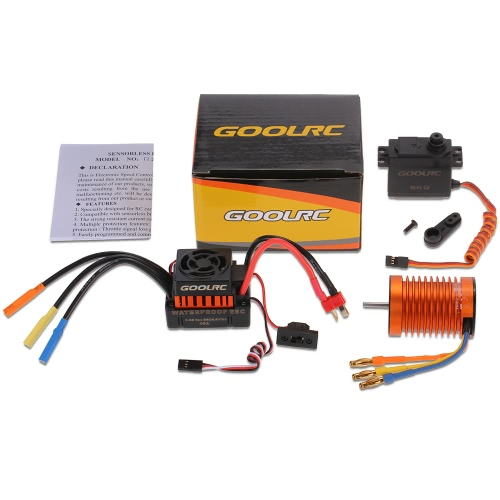 GoolRC F540 3000KV impermeabile Brushless Motor 45A ESC con 6.0kg Servo Gear ingranaggi in metallo Set per 1/10 RC Auto
