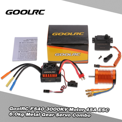 GoolRC F540 3000KV Waterproof Brushless Motor 45A ESC with 6.0kg Metal Gear Servo Combo Set for 1/10 RC Car