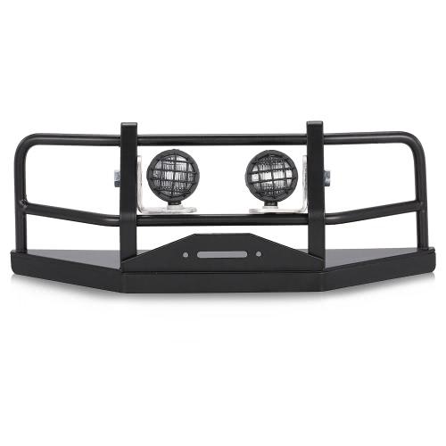 Paraurti anteriore in metallo con paralume e luci a LED per 1/10 assiale D90 D110 SCX10 Rock Crawler