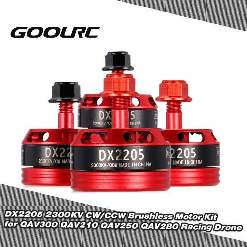 GoolRC DX2205 2300KV Brushless Motor Kit w/ Flange Lock Nuts for QAV250 QAV280 Racing Drone