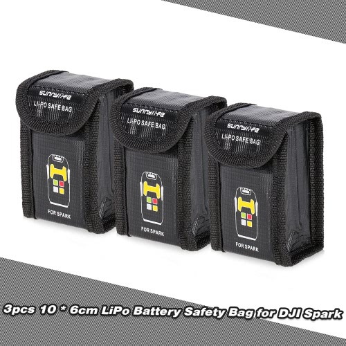 3pcs 10 * 6 * 4cm LiPo Battery Protective Safety Bag Anti Explosion Storage Pocket for DJI Spark FPV Quadcopter
