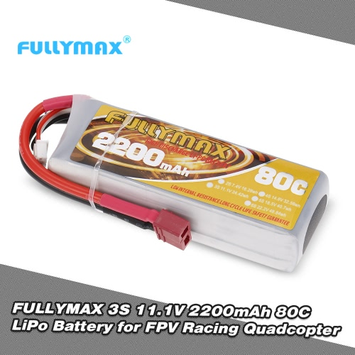 FULLYMAX 3S 11.1V 2200mAh 80C High Rate T Plug LiPo Battery for QAV250, 280, 350 FPV Racing Quadcopter RC Car Boat