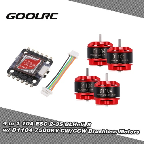 GoolRC 4 in 1 10A ESC BLHeli_S BEC Oneshot125 Multishot and D1104 7500KV Brushless Motor Kit for Racing Quadcopter
