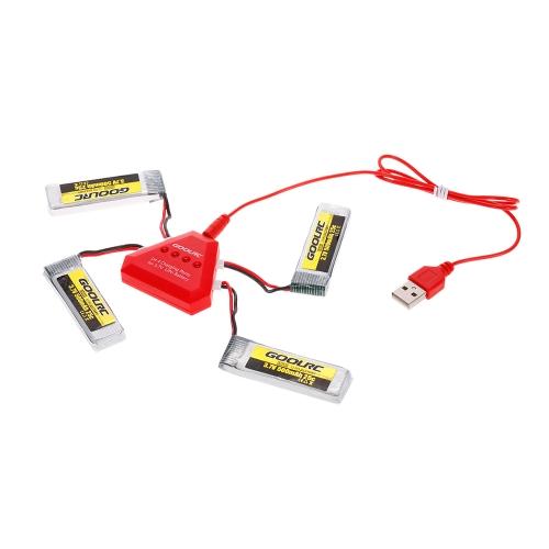 4pcs GoolRC 3.7V 500mah 25C bateria Li-po com 4 em 1 carregador de bateria USB para GoolRC T37 JJR / C H37 Drone Quadcopter
