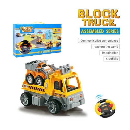 18Pcs DIY Building Blocks Car 1/18 Infrared Remote Control RC Car Trailer Toy Christmas Present Gift for Kids