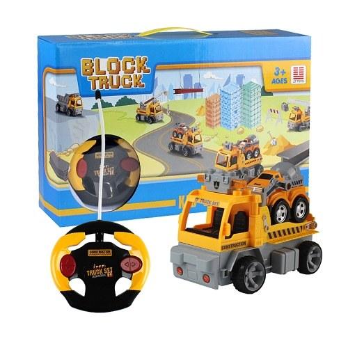 18 Pcs DIY Building Blocks Voiture 1/18 Infrarouge Télécommande RC Voiture Remorque Jouet Cadeau De Noël Cadeau pour les Enfants