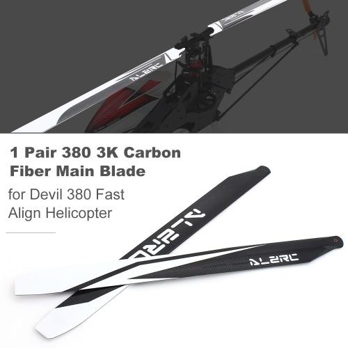 1 paio ALZRC Devil 380 RC elicottero lama principale 3K lama in fibra di carbonio per Devil 380 elicottero ad allineamento rapido
