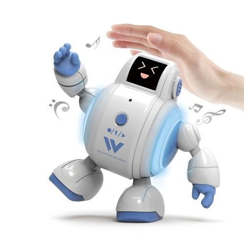 R07 Robots para niños Robot interactivo Juguetes Touch Sensing Singing Robot con emoción LED Luz Expresión facial