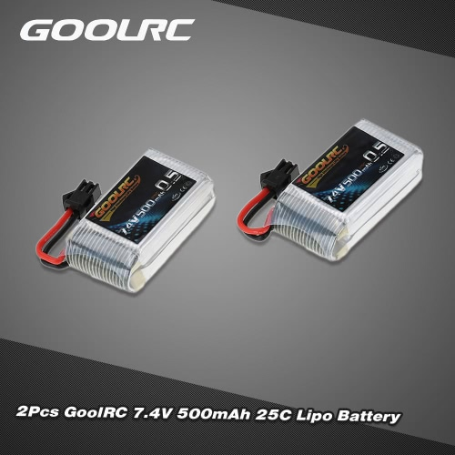 2Pcs GoolRC 7.4V 500mAh 25C Lipo Battery for JJRC H8C H8D DFD F183 F182 RC Drone