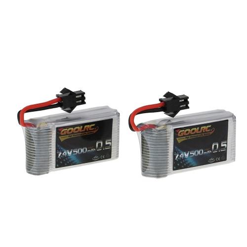 2Pcs GoolRC 7.4V 500mAh 25C Batterie Lipo pour JJRC H8C H8D DFD F183 F182 RC Drone