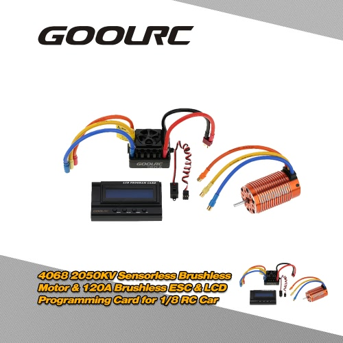 GoolRC 4068 2050KV Sensorless Brushless Motor & 120A Brushless ESC with 6V/3A Switch Mode BEC & LCD Programming Card Combo Set for 1/8 RC Car