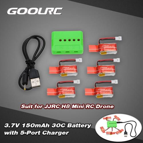 GoolRC 5Pcs 3.7V 150mAh 30C Li-po Battery and 5-Port Charger for JJRC H8 Mini RC Drone