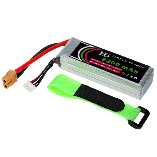 11.1V 2200mAh 25C 3S LiPo Battery with XT60 Plug for RC Quadcopter Airplane Helicopter Car Truck Boat Hobby