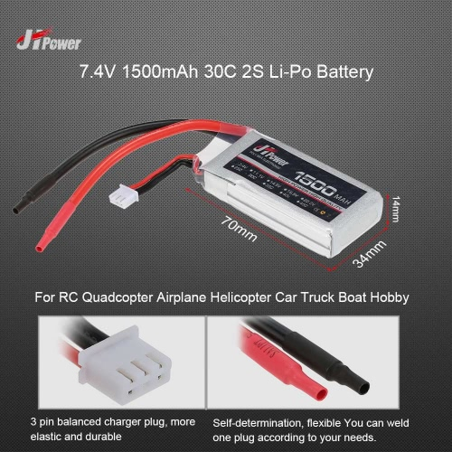 JHpower 7.4V 1500mAh 30C 2S Li-Po Battery for  RC Quadcopter Airplane Helicopter Car Truck Boat Hobby