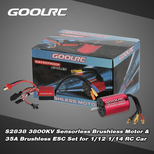 Original GoolRC S2838 3800KV Sensorless Brushless Motor and 35A Brushless ESC Combo Set for 1/12 1/14 RC Car Truck