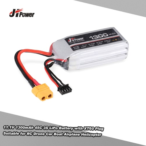JHpower 11.1V 1300mAh 45C 3S LiPo Battery with XT60 Plug for RC Drones Car Boat Airplane Helicopter
