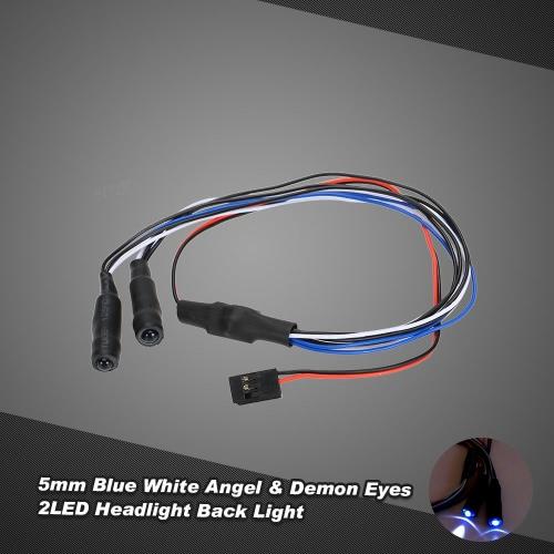 5mm Blue White Angel & Demon Eyes 2 LED Headlight Back Light for 1/10 HSP HPI Traxxas Monster Truck RC Car