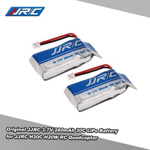 2pcs Original JJRC 3.7V 280mAh 30C LiPo Battery for JJRC H20C H20W RC Quadcopter