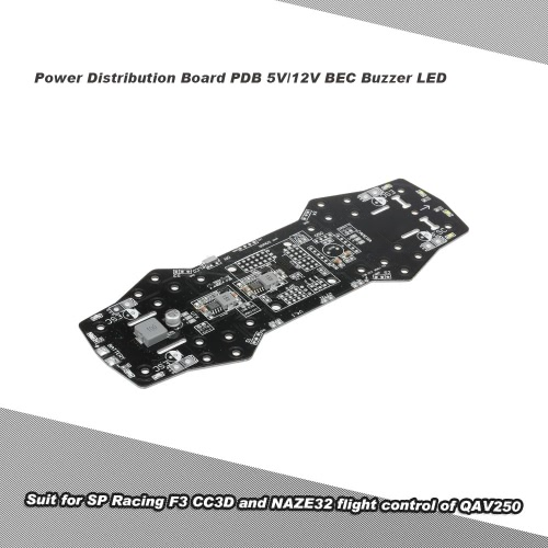 Power Distribution Board PDB 5V/12V BEC Buzzer LED Support OSD for F3 CC3D and NAZE32 Flight Control of QAV250 ZMR 250 FPV Drone Quadcopter